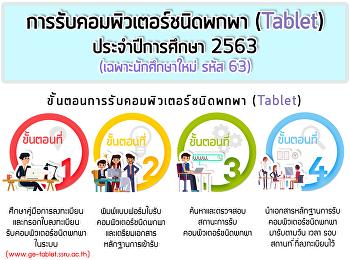กำหนดการเปิดลงทะเบียนรับเครื่องคอมพิวเตอร์ชนิดพกพา (Tablet) สำหรับนักศึกษาชั้นปีที่ 1 ปีการศึกษา 2563 (รอบที่ 1) (เฉพาะนักศึกษาศูนย์การศึกษากรุงเทพฯ เท่านั้น)