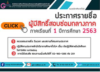 ประกาศรายชื่อผู้มีสิทธิ์สอบซ่อมกลางภาค ภาคเรียนที่ 1 ปีการศึกษา 2563