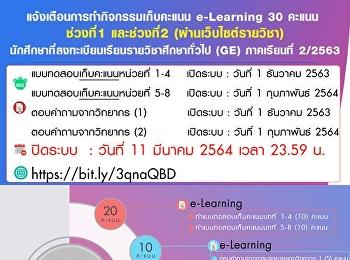 นักศึกษาที่ลงทะเบียนเรียนรายวิชาศึกษาทั่วไป (GE) ภาคเรียนที่ 2/2563 แจ้งเตือนการทำกิจกรรมเก็บคะแนน e-Learning 30 คะแนน