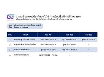 ประชาสัมพันธ์ตารางเรียนหมวดวิชาศึกษาทั่วไป ภาคเรียนที่ 2/2564